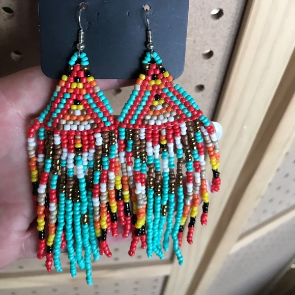 Seed bead earrings in teal, red, white, & more.